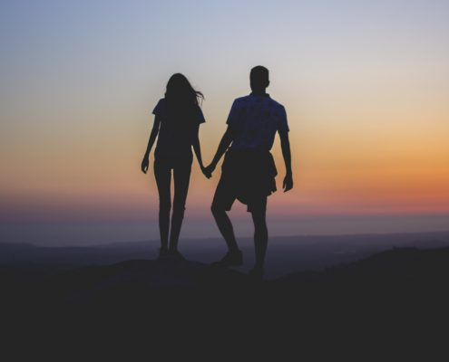 Romantic hike in the Blue Ridge Mountains